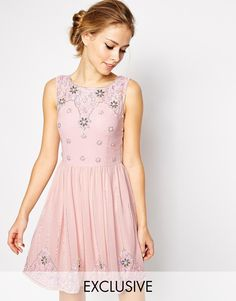 Frock and Frill Sleeveless Mini Skater Dress with Embellishment