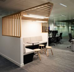 Cool meeting booth with wooden design feature for ad hoc meetings and collaboration sessions