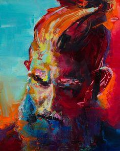 2017 Faces by artist Charla Maarschalk. Portrait Acrylic, Portrait Art, Portraits, Surf Hair, Canadian Artists, Portrait Inspiration, Bold Colors, Love Art, Canvas