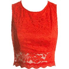 Sans Souci Orange open back lace crop top ($29) ❤ liked on Polyvore featuring tops, shirts, orange, lacy tops, round neck top, orange top, red sheer top and open back crop top