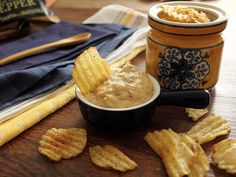 Home Skillet - Cooking Blog: Kettle Chips with a Cheesy, Caramelized Onion, Malt Vinegar Dip