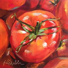 tomato season is an original oil painting by Lancaster artist Kim Smith, holding on to every last sweet bit of summertime Oil Painting Trees, Fruit Painting, Oil Painting Abstract, Oil Paintings, Veggie Art, Vegetable Painting, Art Painting Gallery, Painting Portraits, Fruit Art