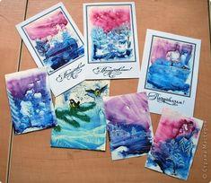 Открытка Новый год Монотипия Новогодние открытки Акварель фото 1