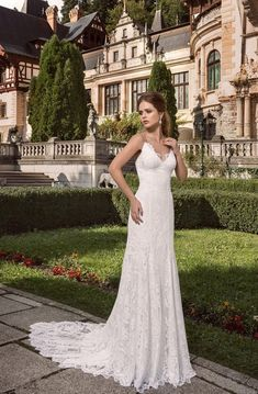 Shop affordable Spaghetti V-neck Lace Floor-length Dress at June Bridals! Over 8000 Chic wedding, bridesmaid, prom dresses & more are on hot sale. Flattering Wedding Dress, Marie Laporte, Strapless Organza, Bridal Gowns, Wedding Dresses, Lace Wedding, Beautiful Wedding Gowns, Sexy, Floor Length Dresses