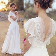 Elegant A-Line Ivory Flower Cap Sleeve V-Neck Chiffon Open Back Wedding Dresses UK Wedding Dresses, Ivory Wedding Dress, Open Back Wedding Dress, V Neck Wedding Dress, Wedding Dress Chiffon Wedding Dresses 2018 Outdoor Wedding Dress, Wedding Dresses Uk, Open Back Wedding Dress, Wedding Dress Chiffon, Bridal Dresses, Lace Chiffon, Dress Lace, White Chiffon, Chiffon Dresses
