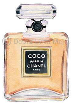 original watercolor of Coco Chanel perfume bottle by Debra Lynn Mejia