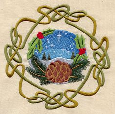 Wheel of the Year - Yule:   In the deepest cold of the winter solstice, Yule fires blaze and bring hope of warmer days to come. This design will coordinate nicely with the Wheel of the Year.