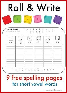 I love these spelling games because they're for one player!  Just print and give your child a die for some short vowel spelling practice.