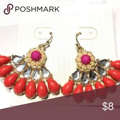 NEW nickel-free pink/red fan earrings Gold-tone. Beautiful detail. Hypo-allergenic, so great for those who are allergic to nickel! Want this in white? Check out my other listing! Bundle 3 or more items from my closet for a 15% discount, only pay shipping ONCE, and get a FREE jewelry accessory item!! Jewelry Earrings