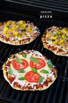 Grilled Pizzas - these are one of my favorite things to make on the grill. Everyone always loves them! {Recipe for pizza crust and pizza sauce included}