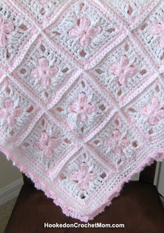 Baby Girl Afghan Granny Square Blanket White and Pastel Pink Handmade Crochet Shower Gift Home Decor Baby Nursery $49.95
