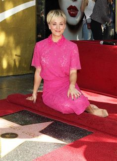 Kaley Cuoco is honored with a star on the Hollywood Walk of Fame in Hollywood, Calif., on Oct. 29, 2014.