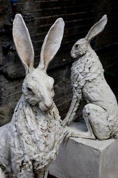 Rustique Brun Décoration De Jardin Lapin Lièvre Sculpture effet bois résine peterrabbit