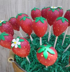Strawberry Cake Pops - Strawberry Birthday Cakes - Edible Party Favor - Strawberries on Etsy, $36.00