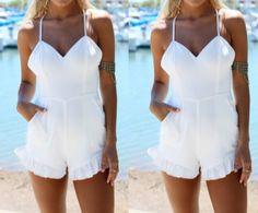 Sweet sling flounced white jumpsuit SF7712JL