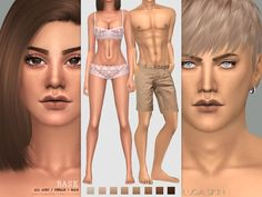 Realistic skin for all ages and genders, adapts to Maxis shades.  Found in TSR Category 'Sims 4 Skintones'