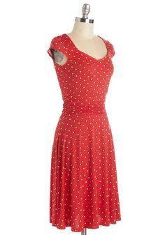Ready, Wheeling, and Able Dress in Red Dots | Mod Retro Vintage Dresses | ModCloth.com