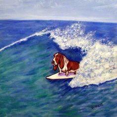 fox terrier dog  art 4x6 surfing glossy photo  PRINT impressionism animals