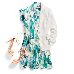 Sights on bright white. Add structure to a fun, floral dress with a crisp white blazer. Extra style points for a pop shoe!
