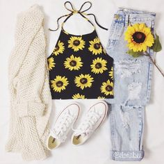 shirt sleeveless sunflower sunflower shirt style black vintage shir T Vintage Outfits black shir Shirt Sleeveless Style sunflower vintage Teen Fashion Outfits, Teenage Outfits, Mode Outfits, Cute Fashion, 90s Fashion, Outfits For Teens, Grunge Outfits, School Outfits, Trendy Fashion