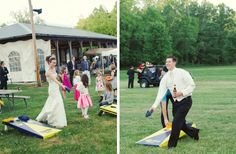 How to Have the Ultimate Outdoor Summer Wedding:   elegant rustic wedding bride groom play lawn games