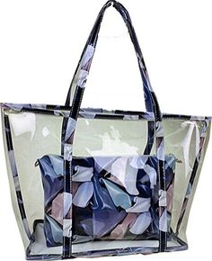 Buenocn Clear Transparent Tote Shoulder Bag Satchel Beach Handbag for Women Shy693 (blue)