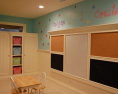 Kids Playroom Design~ Cork, Dry-erase, and Chalk Boards.