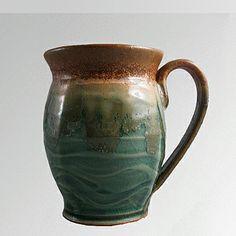 A Unique Gift Idea from ArtCraftGifts - Handmade in USA 16 oz handmade pottery coffee mug - wavy green