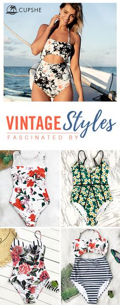 Fascinated by VINTAGE styles❥~ It's easy to be happy when you have a delightful bikini to wear in beach holiday. With much love, we bring you this collection and want you to be happy the whole season. Cupshe, Live Life on the Beach!