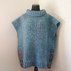 This Adult version of my Amelia Poncho Sweater is forgiving in size and fits up to an XL. It can also be easily adjusted in size as I explain in the pattern. As written, this pattern uses about 8.5 skeins of Lion Brand Wool-Ease Tonal yarn.