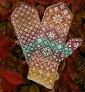 Ravelry: Autumn Snow Mittens pattern by Janet Welsh Knits Knitting Charts, Hand Knitting, Knitting Patterns, Crochet Patterns, Mittens Pattern, Knit Mittens, Mitten Gloves, Knitting Designs, Knitting Projects
