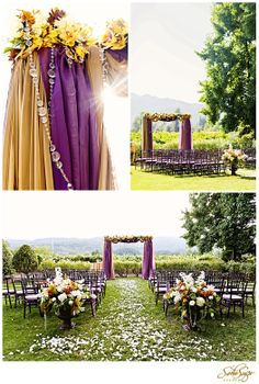 Amazing wedding arch with purple and orange hanging fabric, draped crystals and beautiful flowers!