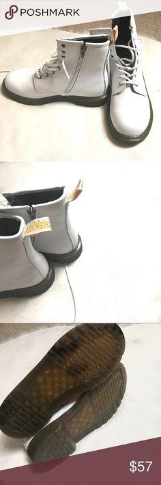 "Dr Martens White Lace Up Boots NWOB Dr. Martens ""Doc Martens""   New without box  White lace ups + size zipper Men size 5 women's size 7 Dr. Martens Shoes Lace Up Boots"