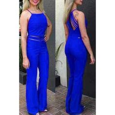 Stylish Spaghetti Strap Hollow Out Jumpsuit For Women