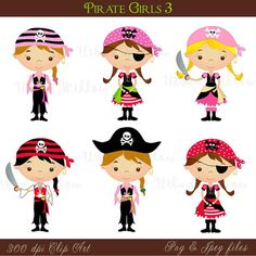 Pirate Girl 3 - Png & Jpeg clip art set.