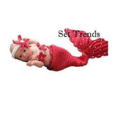 3pcs Set Crochet Mermaid Tail Cocoon Costume Pearl by SetTrends, $23.50