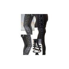 Rockstar Punk Rave Black Vegan Leather Lace-Up Pants via Polyvore featuring pants, vegan leather pants, leather look pants, punk rock pants, imitation leather pants and fake leather pants