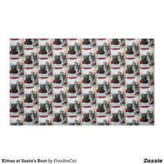 Kitten at Santa's Boot Fabric