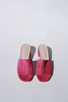 """The classic Sophie Slide in fuschia suede. By Maryam Nassir Zadeh.     * Made in Turkey     * Heel height: 2""""     * Fits true to size. Questions about this product? Email hello@lisasaysgah.com, call us  415.757.0995or DM us on Instagram."""