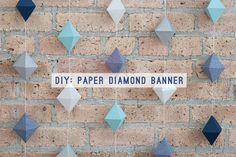 DIY Paper Diamond Banner | Evermore Paper Co.