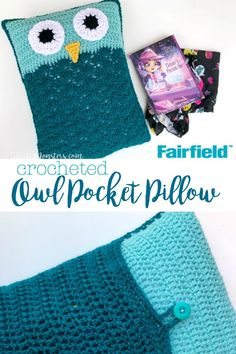 The Owl Pocket Pillow is a crocheted pillow with a pocket on the back for holding a book or pajamas, or whatever else you can think of.