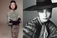 Fei Fei Sun, the first Chinese model to cover the magazine of Vogue Italia, which was shot by legendary fashion photographer Steven Meisel. Fei Fei sports winged eyeliner and channels 60s supermodel China Machondo, Lori Goldstein styles glamourous, elegant, retro-inspired looks from the likes of Valentino, Fendi, Gucci and Giorgio Armani. One thing I love about retro. Not so much blatant nudity constantly. ore STYLE.