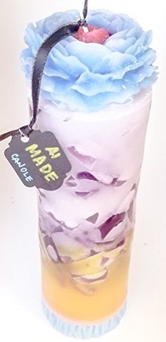"""Amazon.com: Handmade Candle Large Blue Yellow Decorative Pillar 3""""x10"""" Purple Chunks Floral Unique Boxed Gift For Women #150: Handmade"""