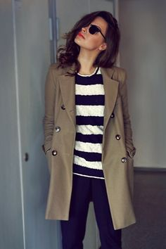 street style   Classic Stripes and Trench Coat