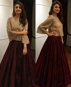 Rate her look 👉 🔟. Parineeti Chopra in Manisha Malhotra for Bachchan's Diwali Bash tonight 💕 😍. Indian Gowns Dresses, Indian Fashion Dresses, Indian Designer Outfits, Pakistani Dresses, Indian Outfits, Designer Dresses, Fashion Outfits, Fashion Clothes, Diwali Dresses