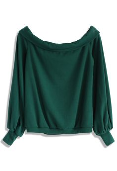 Slouchy Off-Shoulder Top in Green