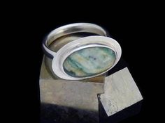 green stone ring California Mariposite recycled sterling silver Sierra, handmade size 7.25, ecofriendly ethical jewelry
