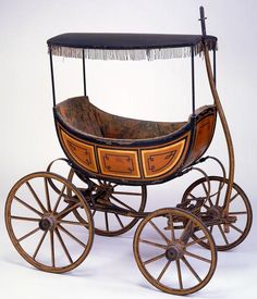 """Baby carriage (1835) by Jarvis B. Prentiss~~ Reminds me of """"Oklahoma"""" (the musical) with the """"Buggy with the fringe on top?"""""""