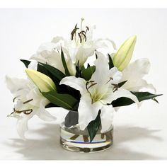 Distinctive Designs White Calla Lilly Faux Flower Arrangement (€145) ❤ liked on Polyvore featuring home, home decor, floral decor, faux floral, glass home decor, artificial flower arrangement, white fake flowers and white home decor
