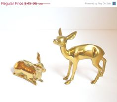 """Almost Sold Out!  Christmas SALE, why wait?  """"Click here to shop today"""" ON SALE $29.56 Vintage Brass Deer Figurines Rustic Deer by JudysJunktion"""